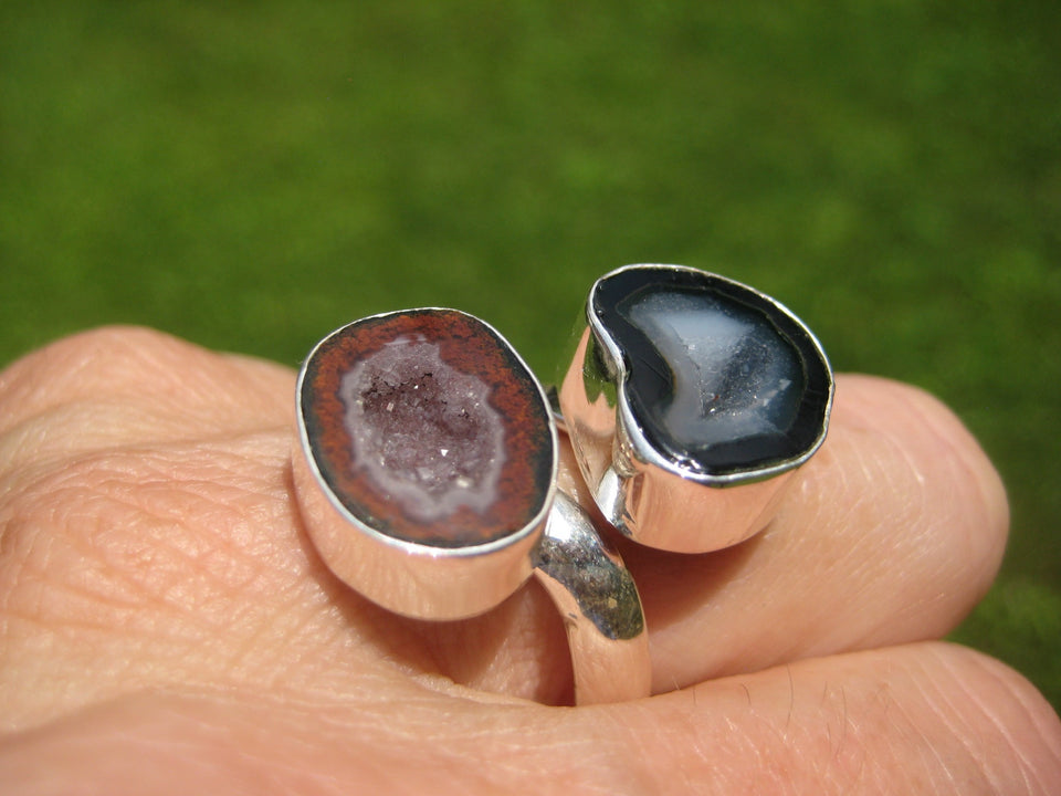 925 Silver Agate Stone Geode Druzi Ring Taxco Mexico A28655