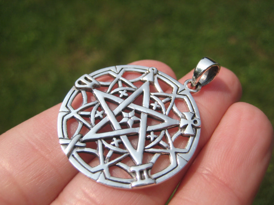 925 silver Inverted Pentagram Pendant Necklace Thailand Jewelry A427