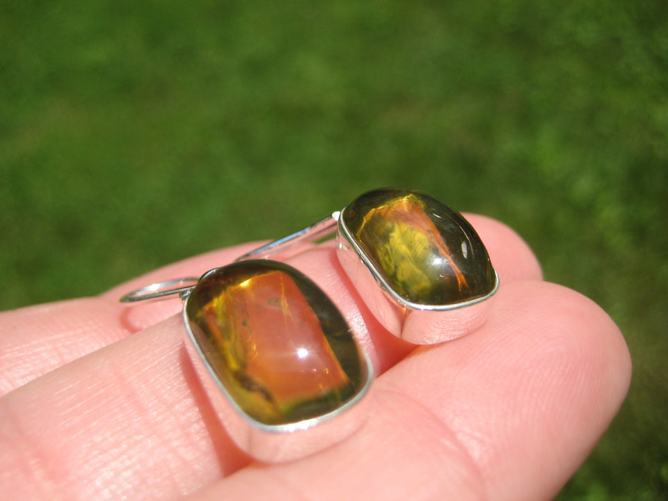 925 Silver Chiapas Amber Earring Earrings Taxco Mexico A8367