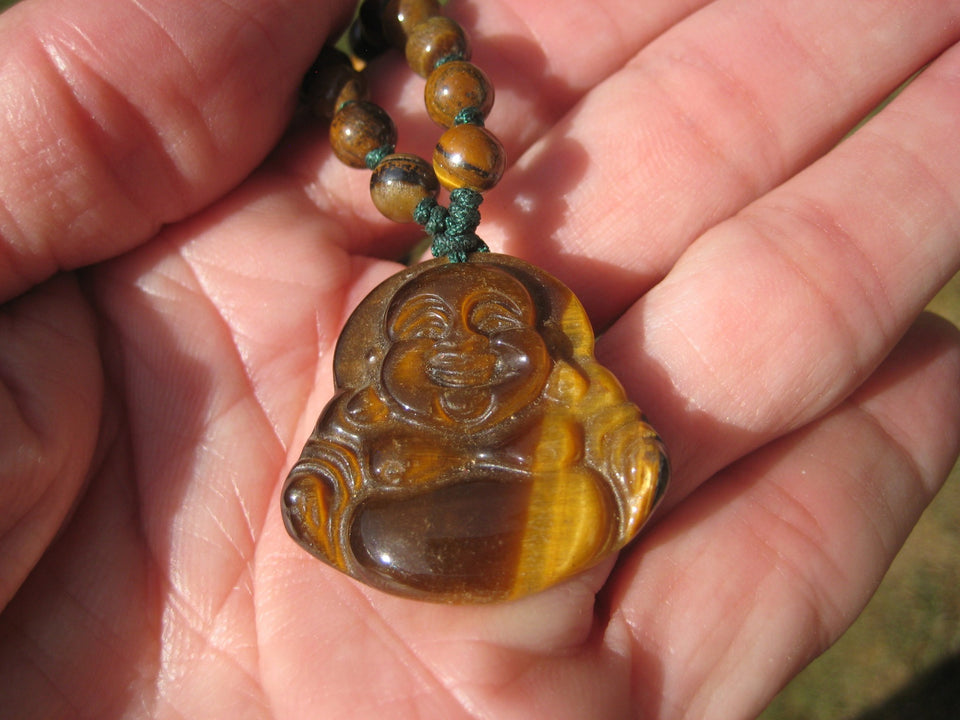 Happy Buddha Tiger Tigers Eye stone Pendant Necklace Thailand jewelry art A425