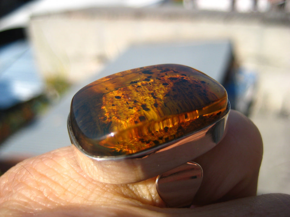 925 Silver Chiapas Amber Ring Taxco Mexico Size 6.5 Adjustable A286