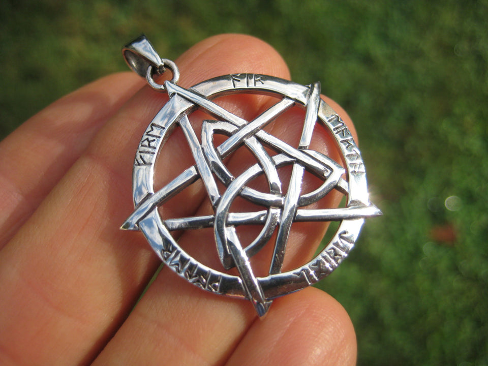 925 Sterling Silver Wicca Pentagram Pendant Necklace Wicca Magic A42