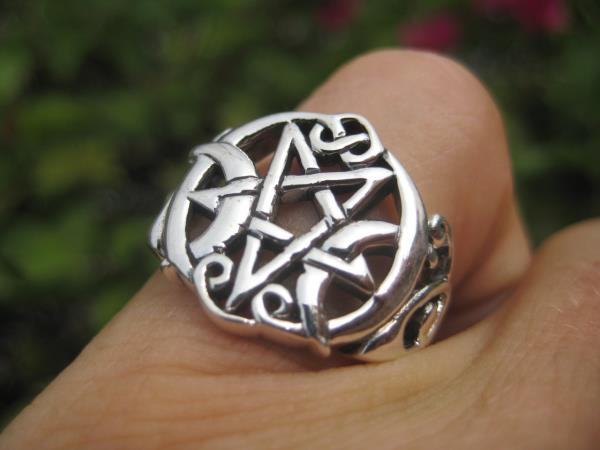 925 Sterling Silver star and moon Pentagram Ring Thailand Jewelry Art A12