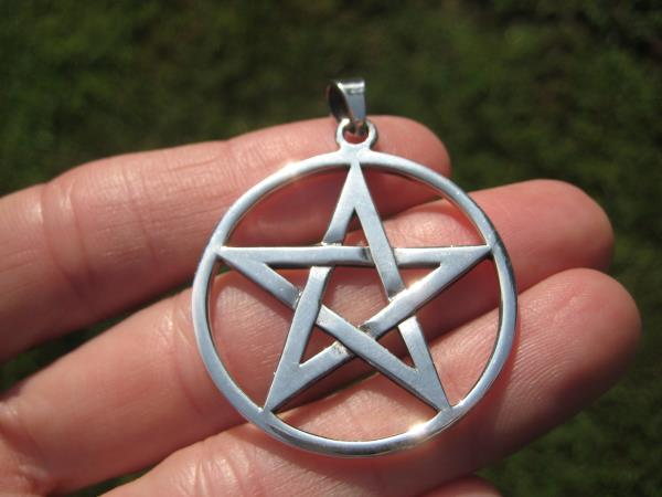 Extra Large 925 Sterling Silver Wiccan Pentagram Pendant A3