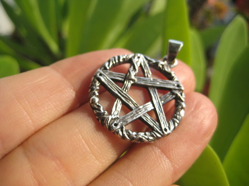 925 Sterling Rough  Silver wicca inverted pentagram pendant necklace