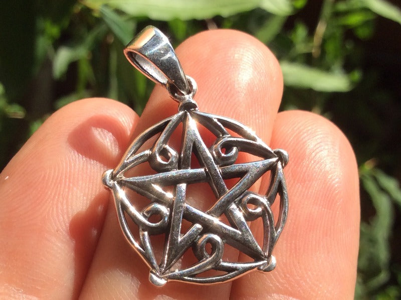 925 sterling silver wicca pentagram pendant necklace A32