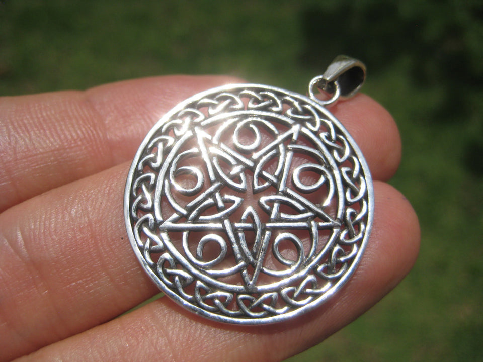 925 sterling silver celtic pentagram pendant necklace A49