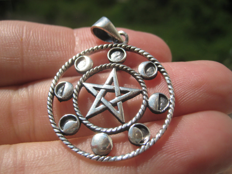 925 Sterling Silver Wicca Pentagram Star Moon Lunar Cycle A25