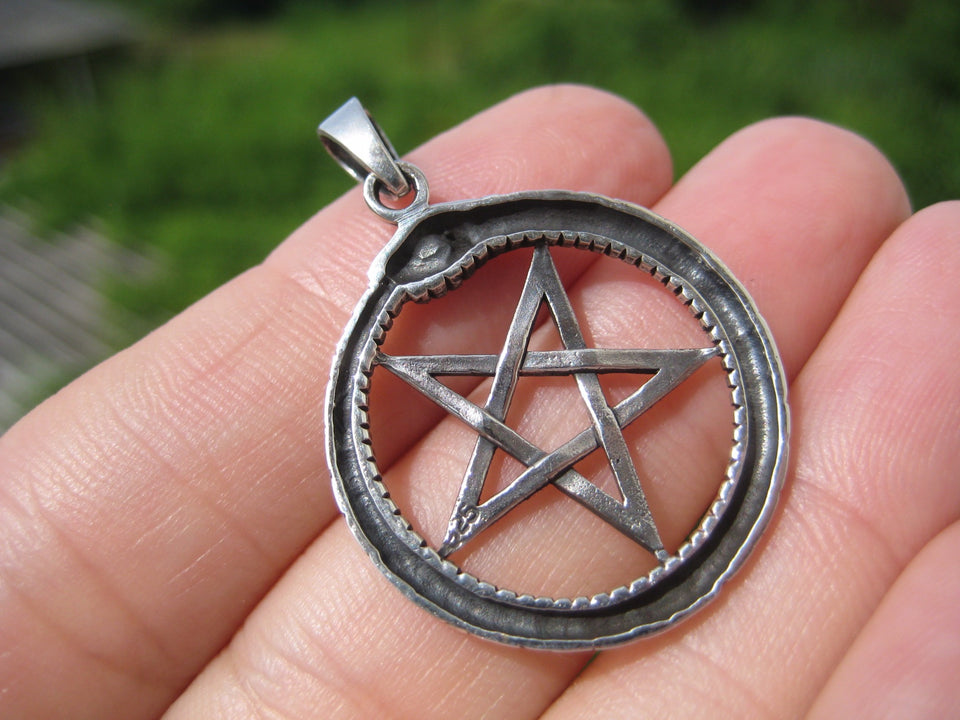 925 Silver Snake Inverted Upside Down Pentagram Pendant Necklace jewelry Art A14