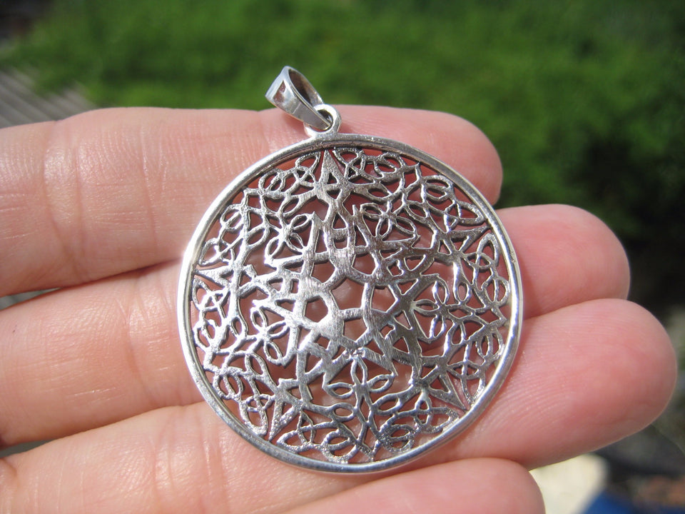 925 Silver Wicca Goth Pentagram Pendant Pentacle necklace jewelry Art A17