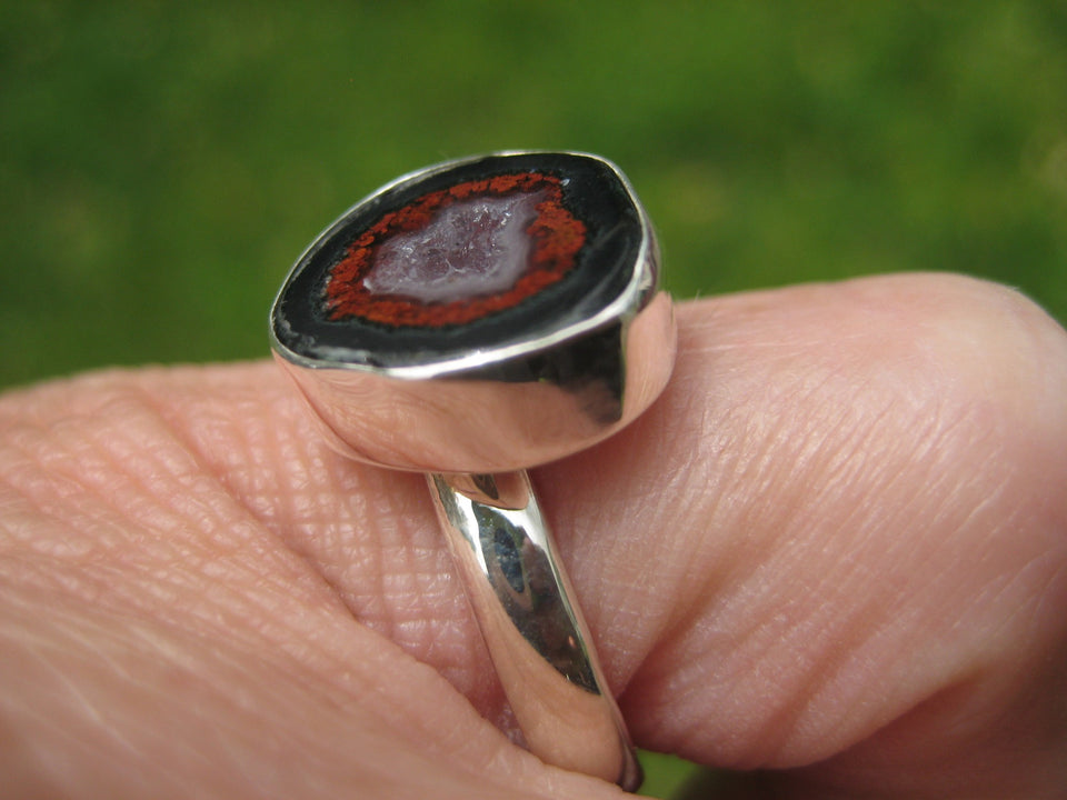 925 Silver Agate Geode Ring Taxco Mexico Size 7.25 US Adjustable A26344