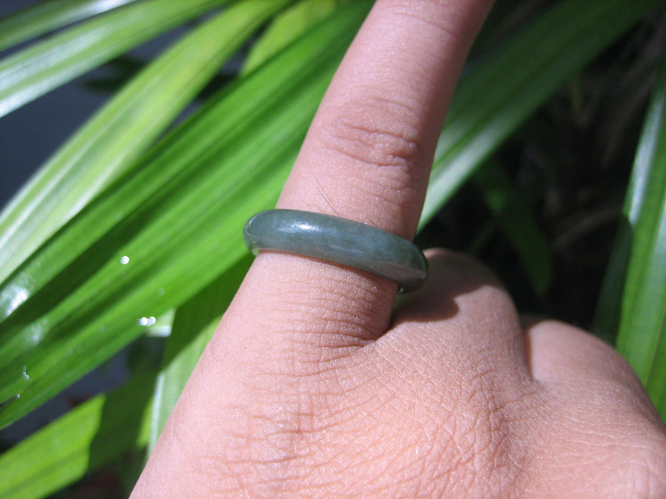 Natural Jadeite Jade ring Thailand jewelry stone mineral size  6.75 US   E 59191