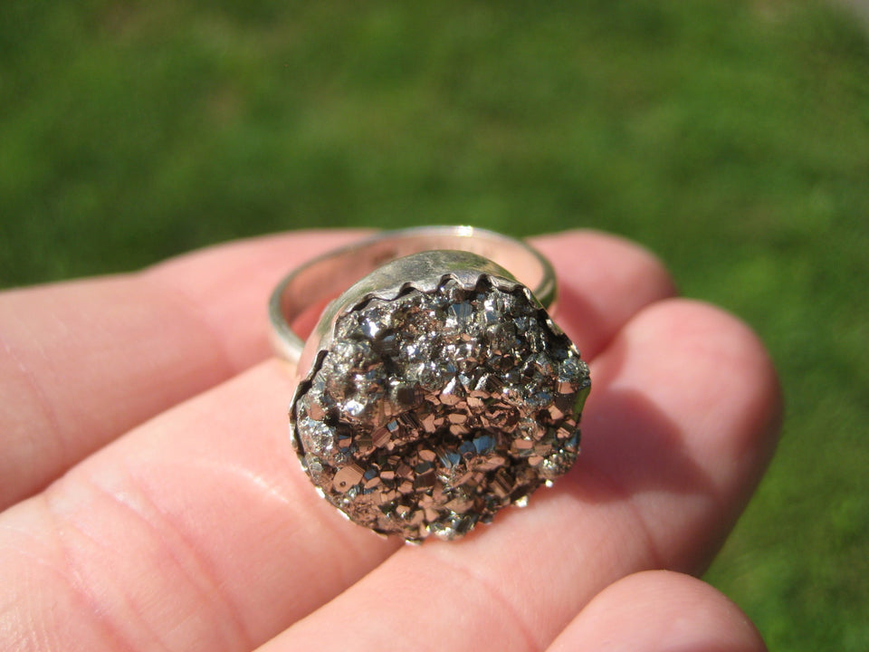 925 Silver Pyrite Crystal Ring Taxco Mexico Size 6.5 US Adjustable A3755