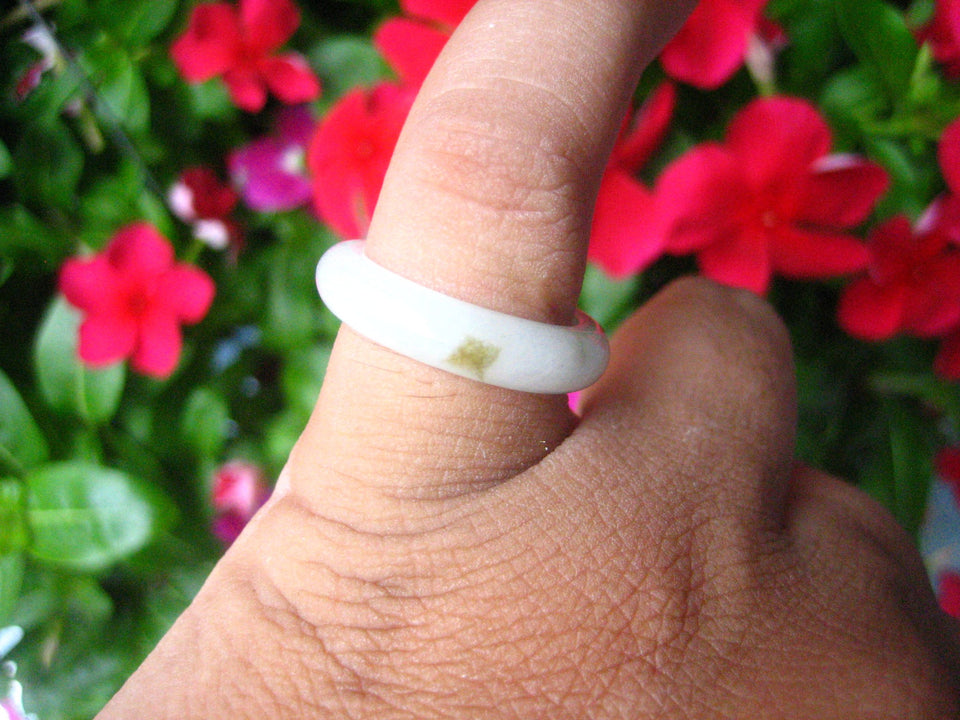 Natural Jadeite Jade ring Thailand jewelry stone mineral size  6.5 US  EB 095