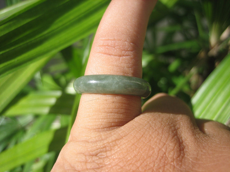 Natural Jadeite Jade ring Thailand jewelry stone mineral size 7 US  EA 096
