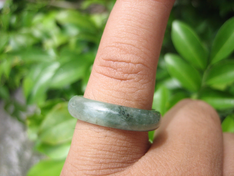 Natural Jadeite Jade ring Thailand jewelry stone mineral size  7 US  EB 048