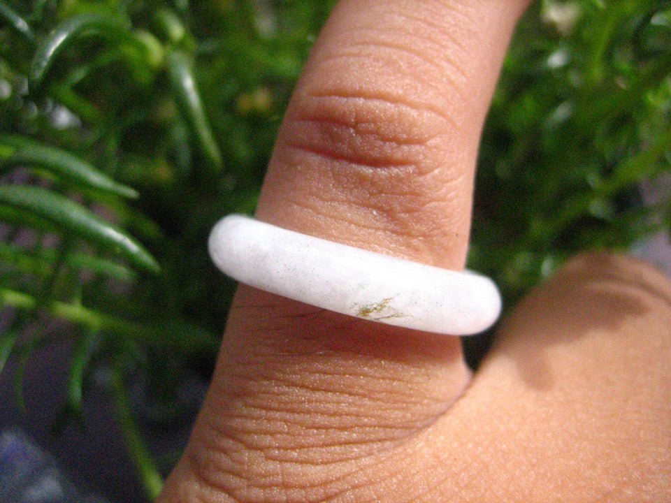 Large Natural Jadeite Jade Ring Thailand Jewelry Art Size 6.75 EB 523