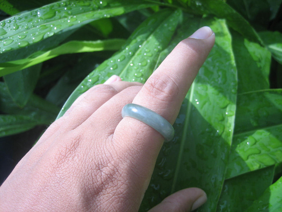 Natural Jadeite Jade ring Thailand jewelry stone mineral size  9.25 US   E 5990