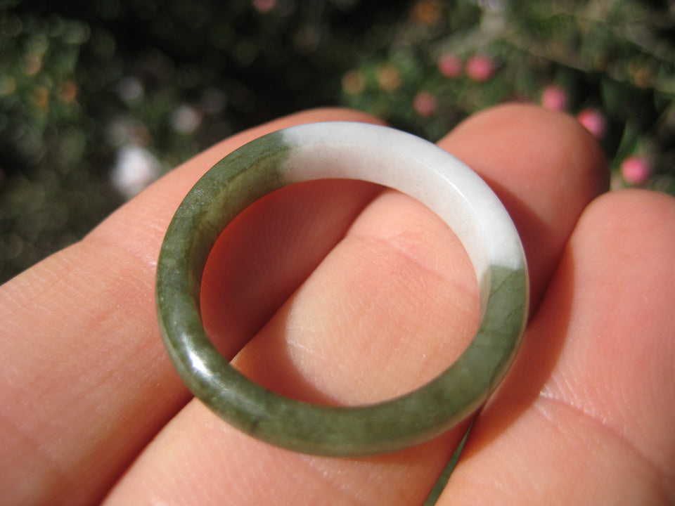 Large Natural Jadeite Jade ring Thailand jewelry stone mineral size 9.25 A503