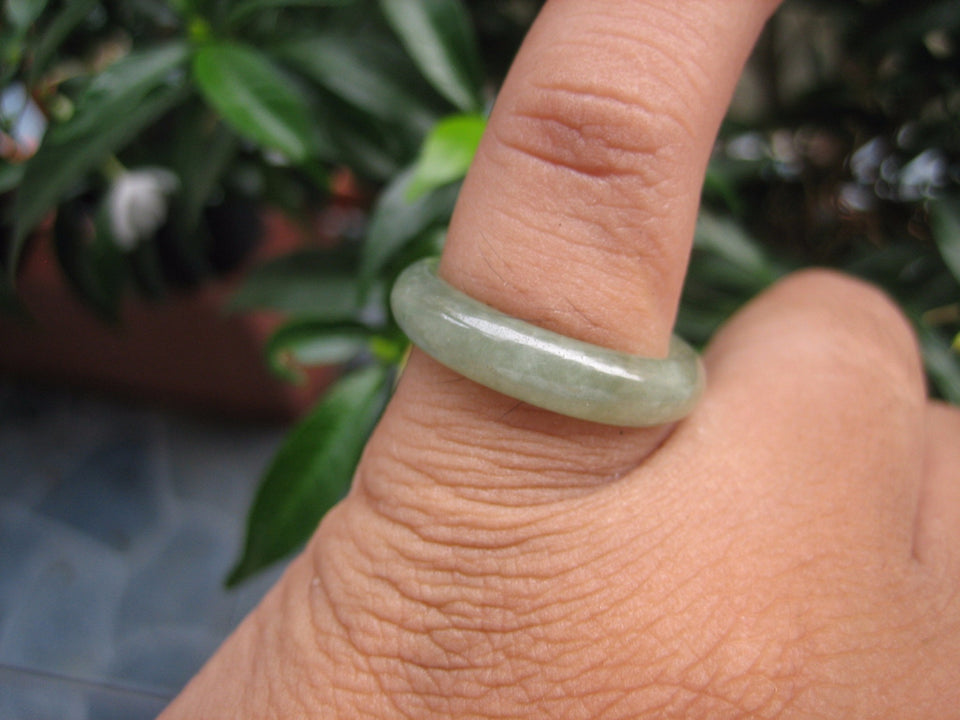 Natural Jadeite Jade ring Thailand jewelry stone mineral size  7.25 US  EB 118