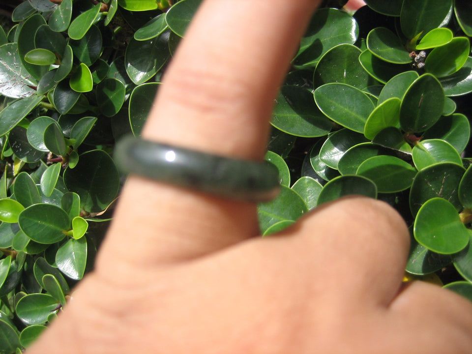 Natural Jadeite Jade ring Thailand jewelry stone mineral size  7.25 US  EB 028