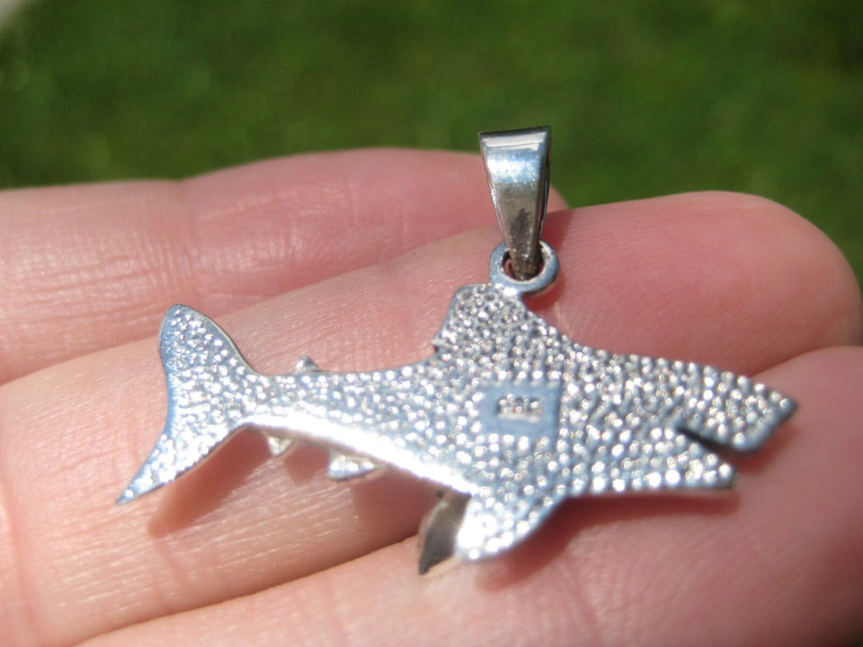925 Silver Great White Shark Pendant Necklace Thailand Jewelry Art A28
