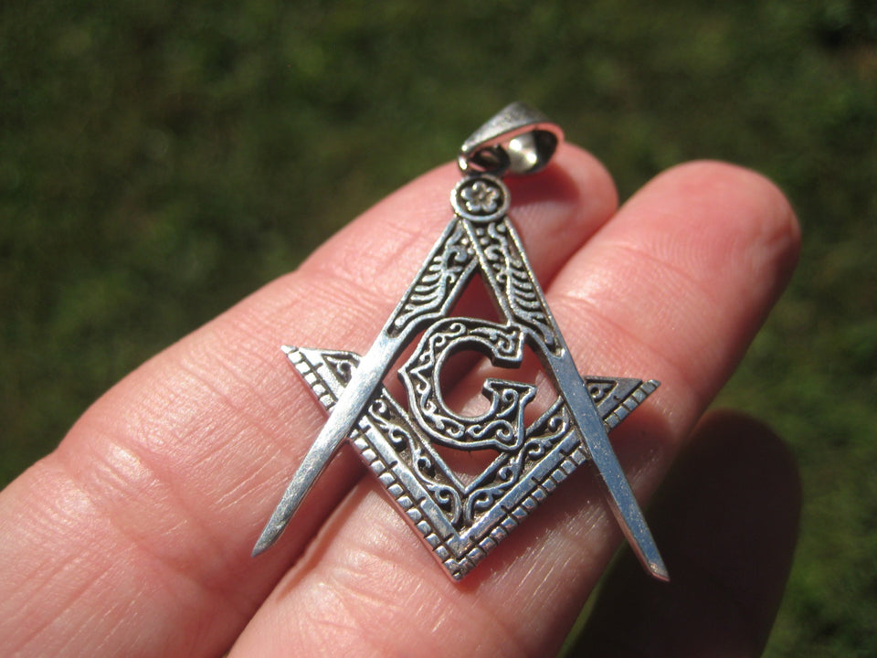 925 Silver Free Mason Masonic Pendant Necklace Thailand jewelry Art A1465