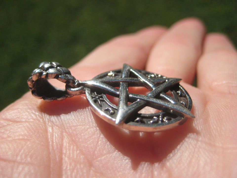 925 Silver Star and Moon Pentagram Pendant A2648