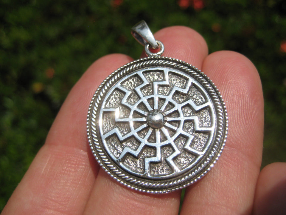 925 Sterling Silver Black Sun Wheel Viking Norse Sonnenrad Germanic pendant