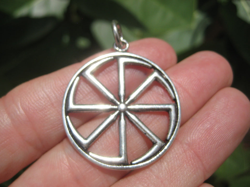 925 Silver Black Sun Wheel Sonnenrad Viking Germanic Pendant Necklace A8