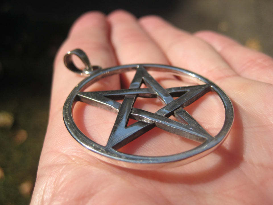 Extra Large 925 Sterling Silver Wicca Inverted Pentagram Pendant A2633