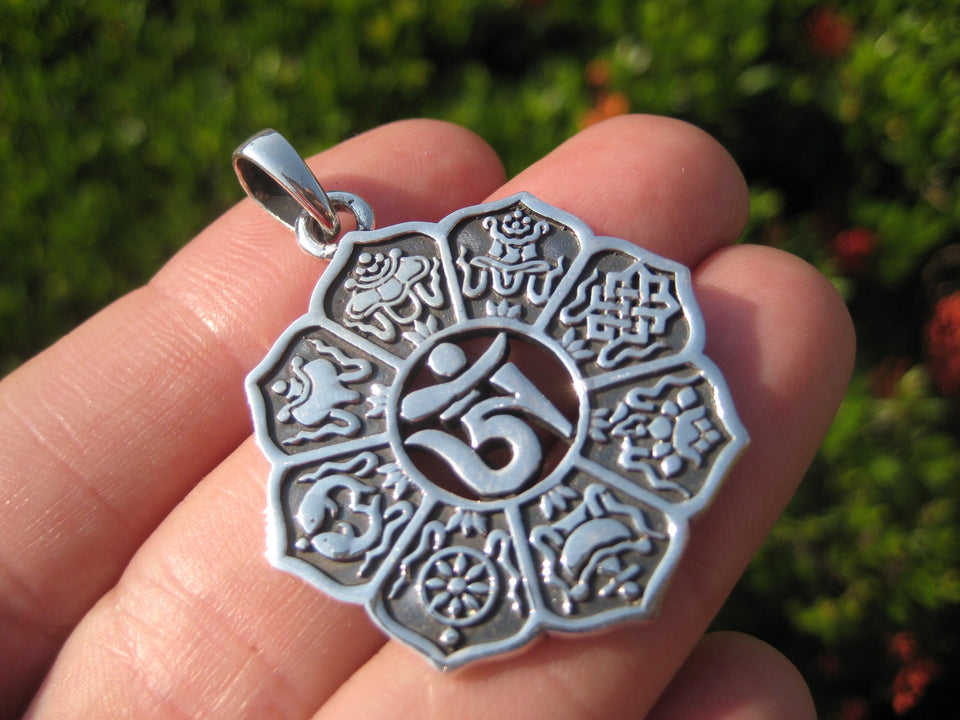 925 Silver Ohm Nine Spiritual Symbols Pendant Necklace Buddhist Jewelry Art A10