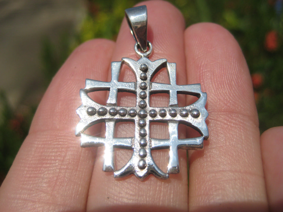 925 Silver Knights Templar Fivefold Christian Cross Crusaders Medal A34