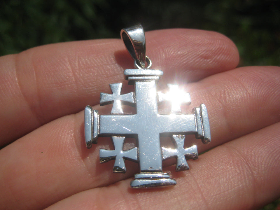 925 Silver Knights Templar Fivefold Christian Cross Crusaders Medal A38