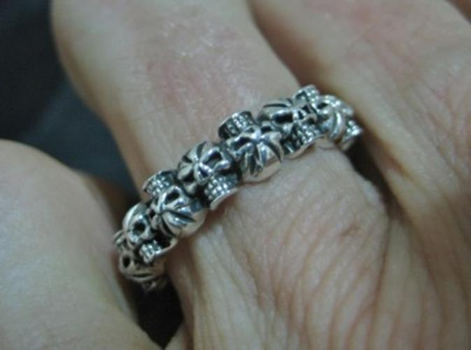925 Sterling Silver many Skull Skulls Ring jewelry Art Thailand N3755
