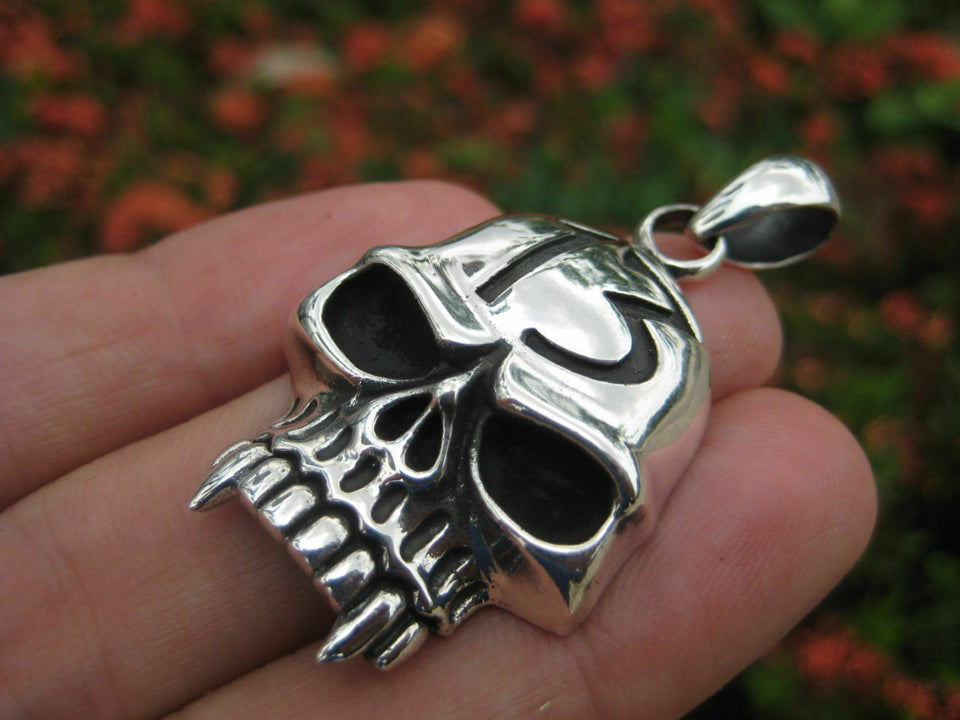 925 Sterling Silver Skull Lucky Thirteen pendant necklace jewelry Thailand N2566