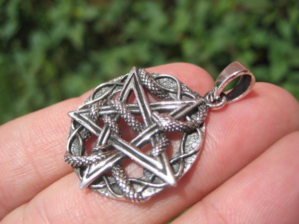 925 Silver Snake Pentagram Pendant Pentacle necklace jewelry Art A22