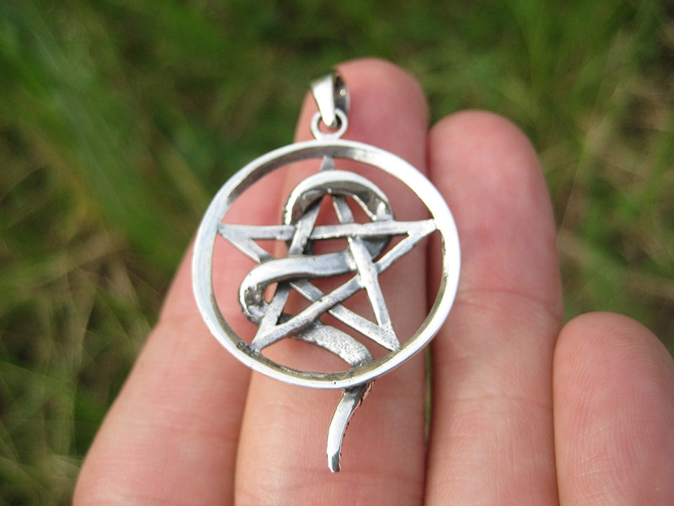 925 Silver Snake Pentagram Pentacle Pendant Thailand Jewelry Art A34
