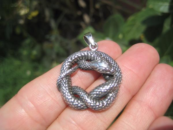 925 Silver Snake Pendant Necklace Thailand jewelry Art