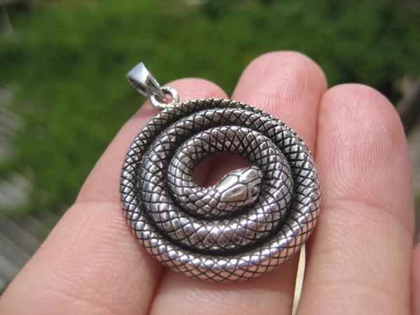 925 Silver Snake Pendant Necklace Thailand jewelry