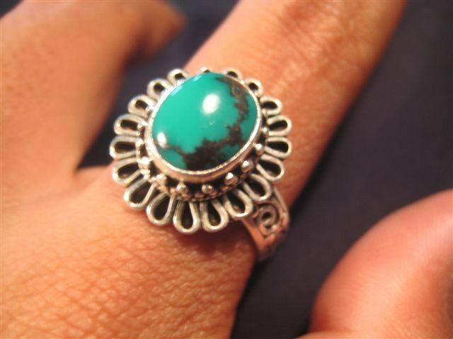 925 Silver Turquoise Ring Jewelry Art size 8.75 N3755