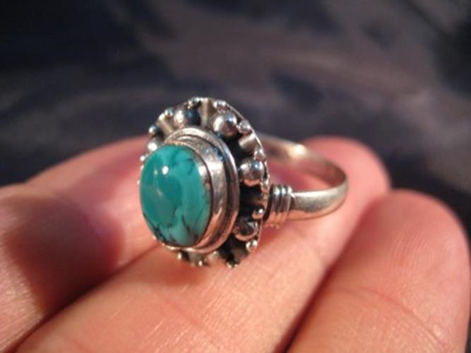 925 Silver Tibetan Turquoise stone Ring jewelry art Nepal Size 9.25 US  N2866
