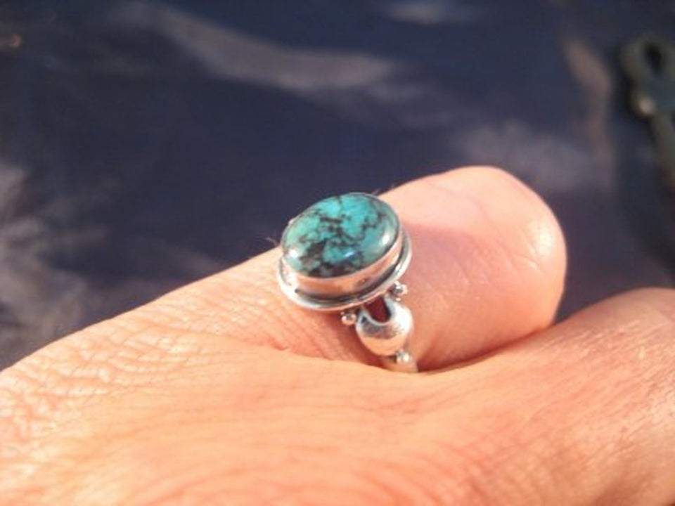 925 Silver Tibetan Turquoise stone Ring jewelry Nepal Size 7 US A804