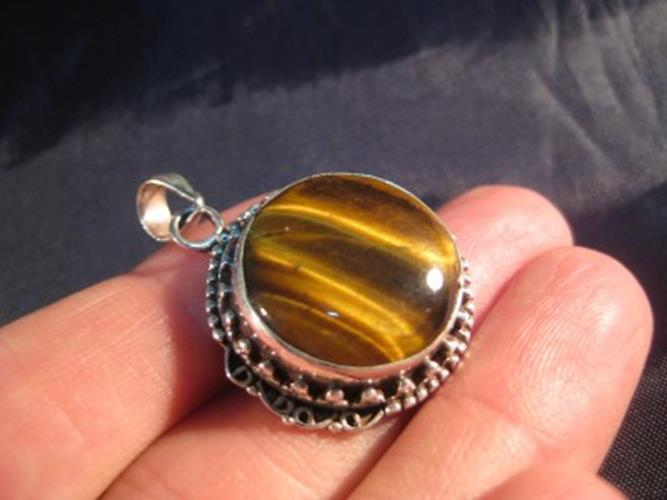 925 Silver Tiger Tiger's Eye pendant nepal jewelry N4888