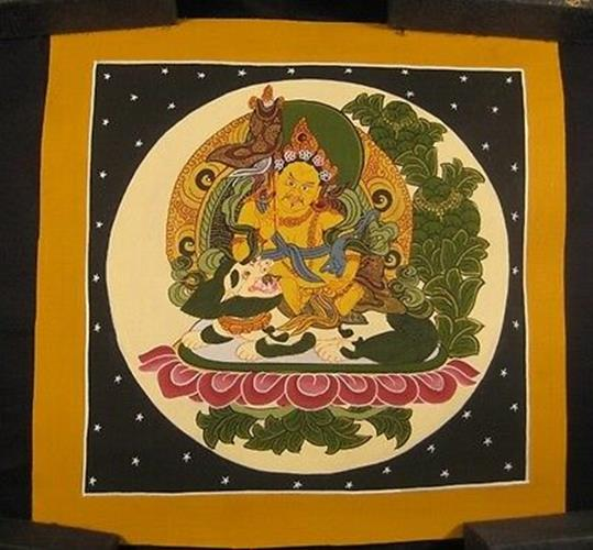 Mixed Gold Small Jambhala Thangka Thanka painting Nepal Himalayan art N3622
