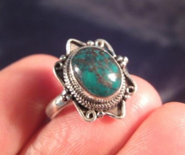 925 Silver Tibetan Turquoise crystal stone Ring Nepal jewelry art Size 6.5 N3896