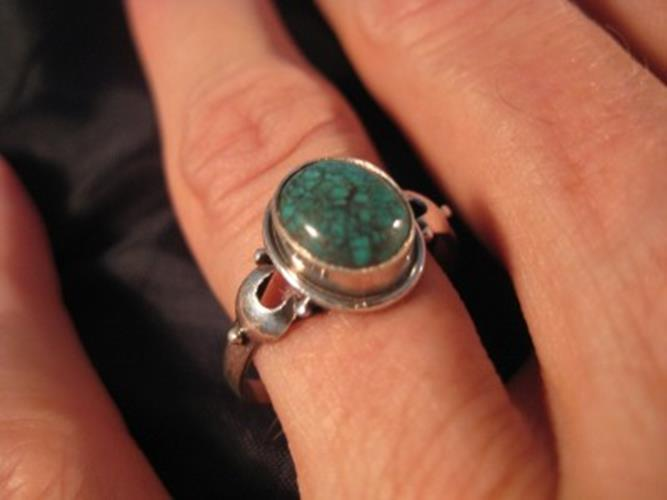 925 Silver Tibetan Turquoise stone Ring jewelry art Nepal Size 8.25 US N2744