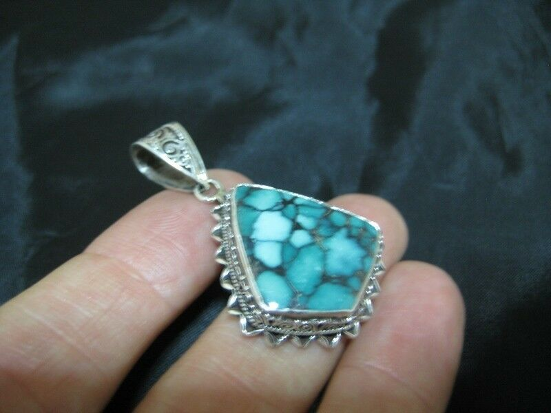 925 Silver Tibetan Turquoise stone crystal Pendant Necklace Nepal N4977