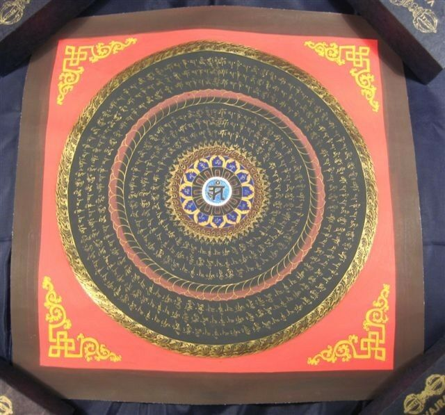 Blue Ohm Mandlala Thangka Thanka Painting Nepal AN384