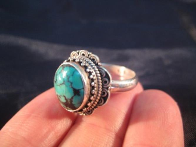 925 Silver Tibetan Turquoise stone Ring jewelry Nepal Size 9 US N3866